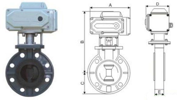 UPVC电动塑料蝶阀结构图片