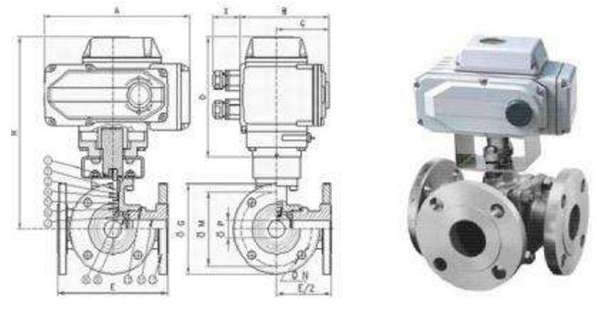 Q644F/Q614F电动三通球阀结构图片