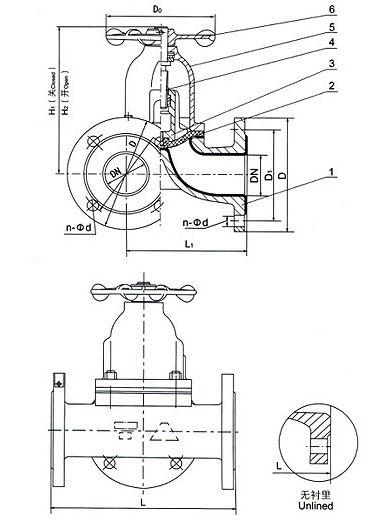 G49J三通衬胶隔膜阀结构图片